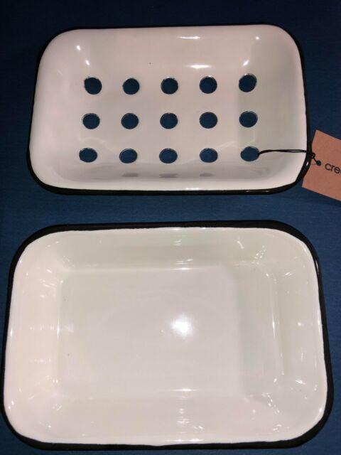 Creative Co-op White Enameled Metal Soap Dish Hangs or Sits DA1988