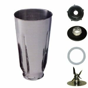 Osterizer Blender Replacement Parts 5 Cup Stainless Steel Blender Jar Set, Complete 6 Piece SS ...