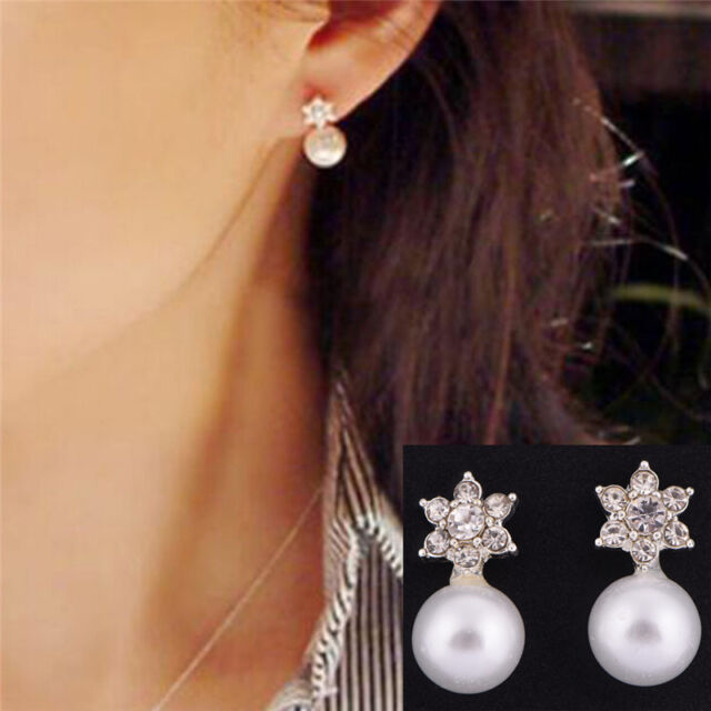 Snowflake Earrings Crystal Rhinestone Pearls Ear Stud Earring Women Jewelry TS