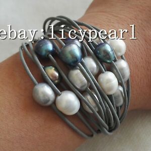 15-Reihe-10-11mm-kultiviert-Weiss-grau-schwarz-Barock-Suesswasser-Perlen-armband