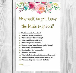 graphic relating to How Well Do You Know the Bride Printable named Facts in excess of How nicely do yourself realize the bridegroom- Bridal Shower/ Kitchen area tea recreation- printable