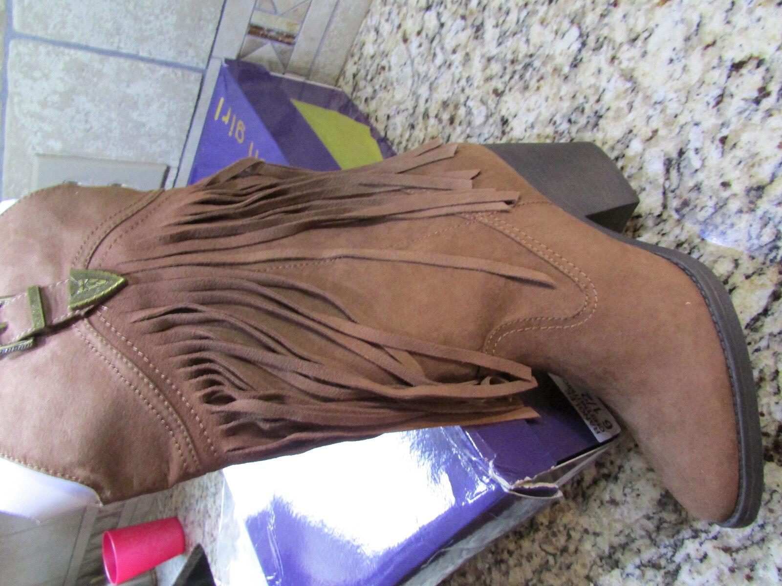 NEU MADDEN GIRL RANGLEE WESTERN FRINGE BOOTS Damenschuhe 6.5 CHESTNUT COGNAC