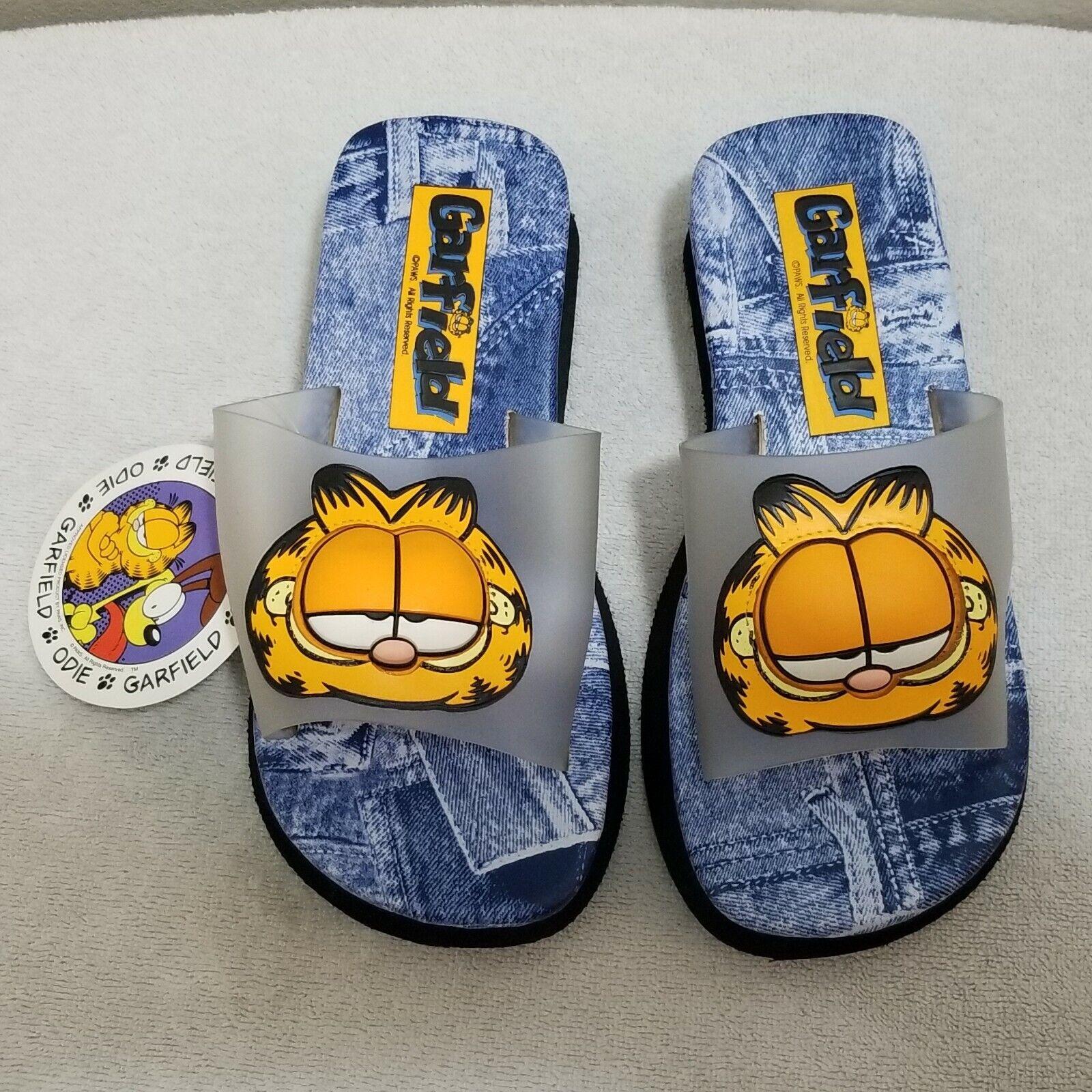NEW Garfield Beach Flip Flops bluee Jean Platform Lightweight Sandals Womens Sz 6