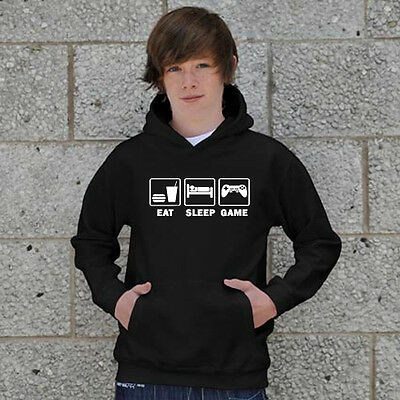 KIDS EAT SLEEP GAME GAMING HOODIE JUMPER SWEATSHIRT ALL SIZES