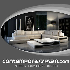 Image is loading Ultra-Modern-Leather-Sectional-Sofa-with-Built-in- : built in sectional - Sectionals, Sofas & Couches