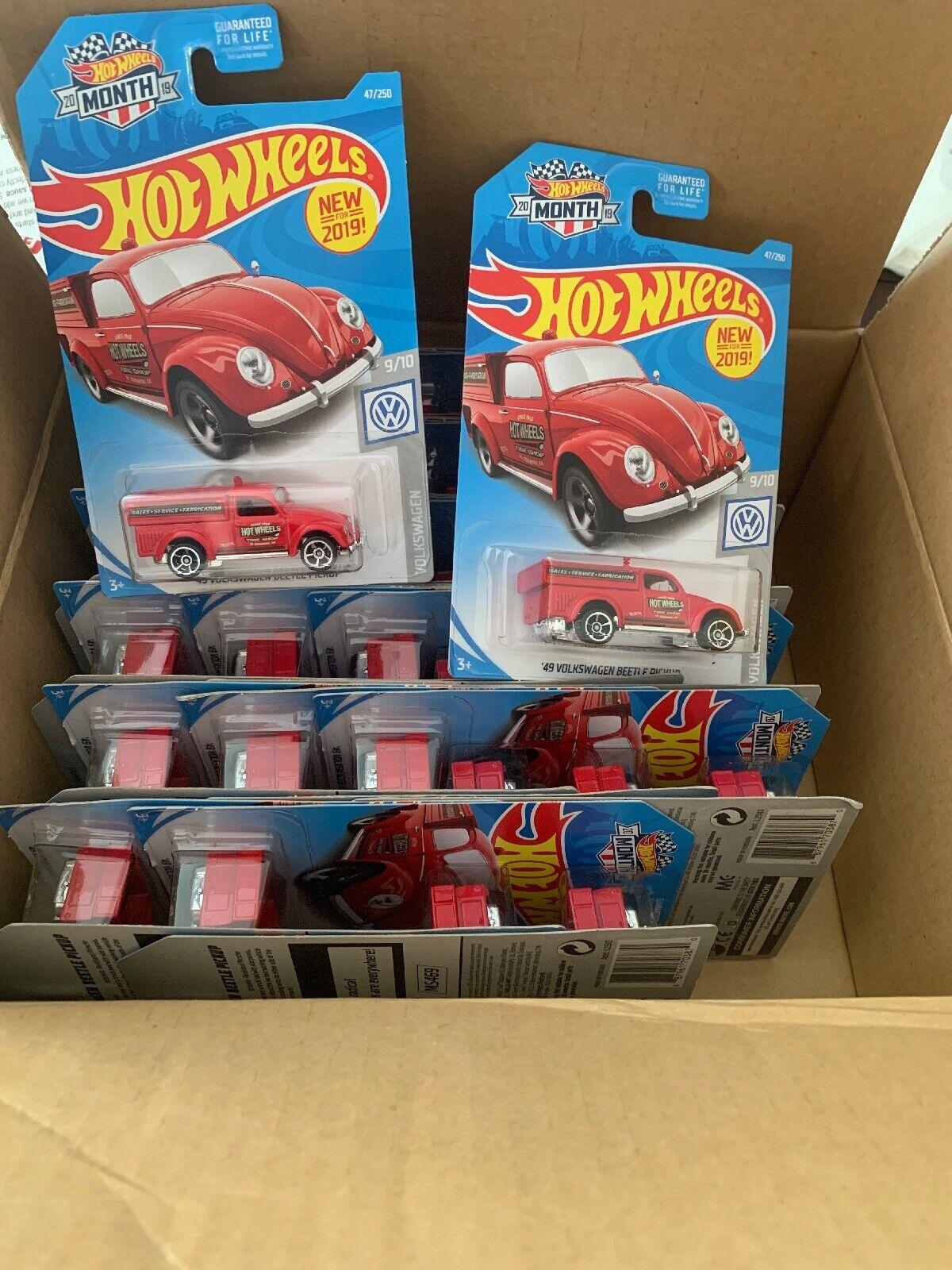 2019 Hot Wheels pastilla de Volkswagon Beetle de 49 Lote de 36 Rojo