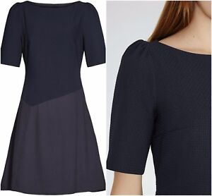 ex-REISS-Textured-Fit-amp-Flare-Shift-Office-Cocktail-Navy-Dress