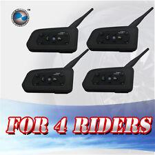4X BT Bluetooth Wireless Motorcycle Helmet Intercom Headsets for 6 Riders 1200M