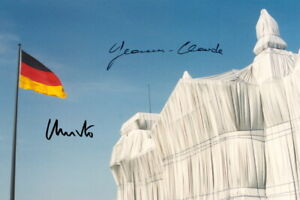 CHRISTO-amp-JEANNE-CLAUDE-Repro-Autogramm-20x30-cm-Wrapped-Reichstag-signed
