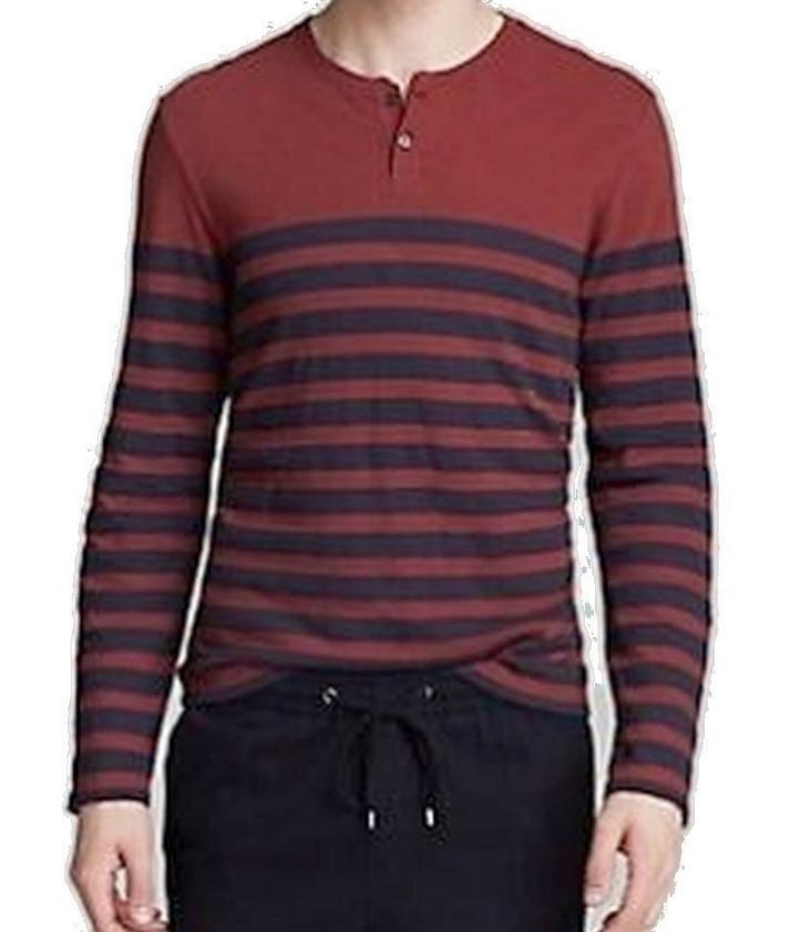 Vince  Herren Cinnamon Henley Cinnamon Striped Long Sleeve T Shirt Sz L 5213