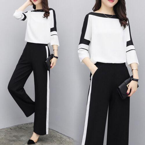 Women Two Piece Set Summer Chiffon Blouse Wide Leg Pants Casual Fashion JD