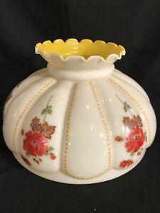 Vintage-GWTW-13-1-2-Fitter-Red-Floral-Melon-Yellow-Glass-Hurricane-Lamp-Shade