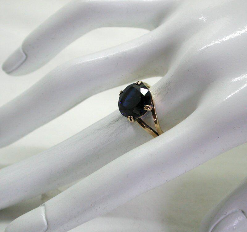 VINTAGE BELLA BELLA BELLA oro 9 Carati Grandi Zaffiro sintetico solitario Anello Abito 59004c