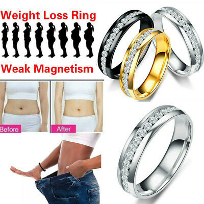 Weight Loss Crystal Rhinestone Ring Slimmings Healthcare Rings Magnetic Jewel OX