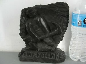 HAND CARVED ANTHRACITE REAL COAL MINER ART SCULPTURE KWK KATOWICE POLAND SIGNED