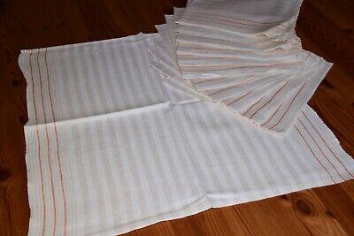 12 Alte Leinen Handtücher Küchentücher Gestreift Orange Streifen 50 X 45 Cm Tropf-Trocken