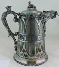 ANTIQUE 1863 SILVER PLATE COFFEE POT KAUFMANN EAGLE LION WALRUS GREEK KEY