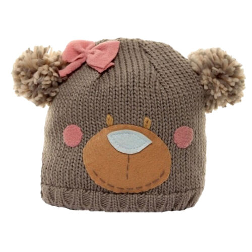 Childrens Girls Bear Design Knitted Winter Ski Hat HA286
