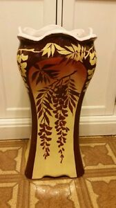 Beautiful-Roseville-Pottery-Umbrella-Stand-Brown-amp-Yellow-Floral-READ-DESCRIPTION