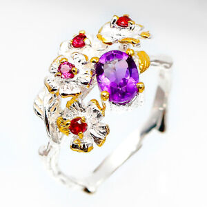 Fashion-Flower-jewelry-women-Natural-Amethyst-925-Sterling-Silver-Ring-RVS71