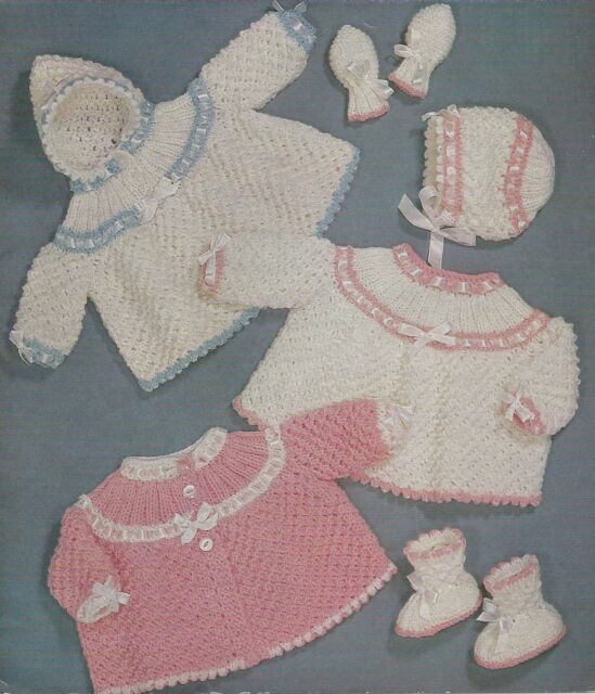 Knitting Pattern Vintage Baby Coats Bonnet Mittens Bootees DK  257