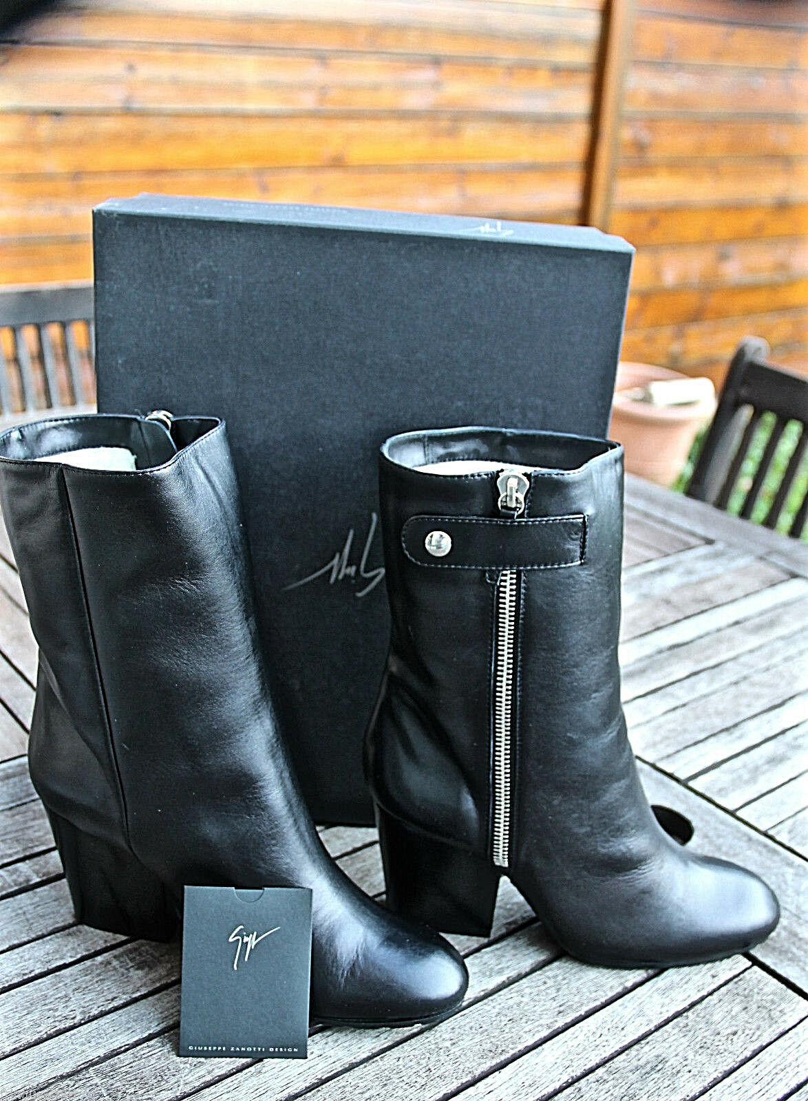Bottines fourrées GIUSEPPE ZANOTTI baby calf size 40,5 eu 9,5 us 7 uk VAL