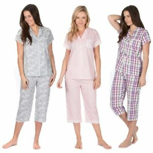 Ladies-2-Piece-Pyjama-Set-Short-Sleeve-Top-Cropped-Bottoms-Nightwear-100-Cotton