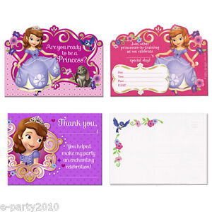 Image Is Loading SOFIA THE FIRST INVITATIONS And THANK YOU NOTES
