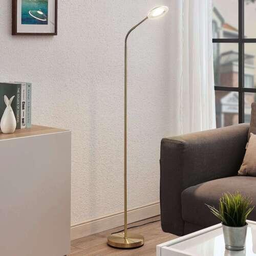 LED-Stehlampe Meghan Messing Matt Wohnzimmer Leuchte Lindby Leselicht