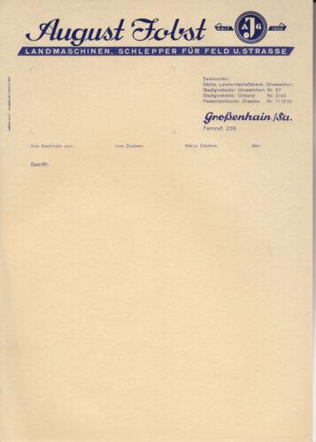 Schönes Briefpapier August Jobst Landmaschinen Schlepper Großenhain Sachsen rar