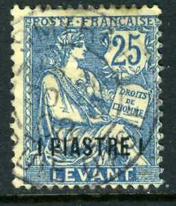 Levant 1903 French Colony 1P/25¢ Blue SG #14 Lebanon Cancel VFU N526