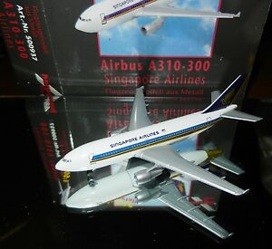 Herpa-500937-Singapore-Airlines-Airbus-A310-300-1-500-Scale-Diecast-Mint-in-Box