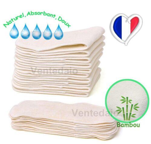 Lot 5 Inserts Doublure Bambou Pour Couches Lavables Change Bébé Naturel Doux