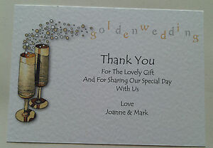 5 Golden Wedding Anniversary Thank You Cards