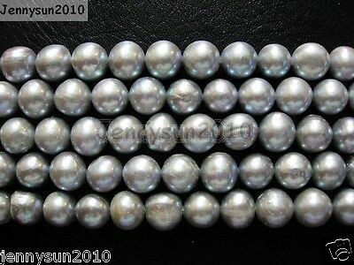 Natural Freshwater Pearl Freeformed Potato Loose Beads 9mm - 10mm Grey 15''