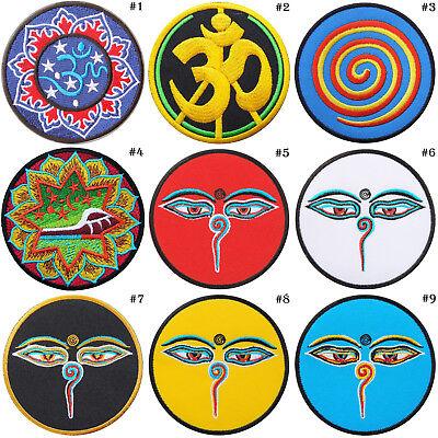 Hindu aum om infinity hindi yoga peace trance applique iron-on patch G-12