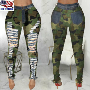 Womens-Ripped-Camouflage-Jeans-Pants-Stretch-Pencil-Pants-High-Waist-Trousers-US