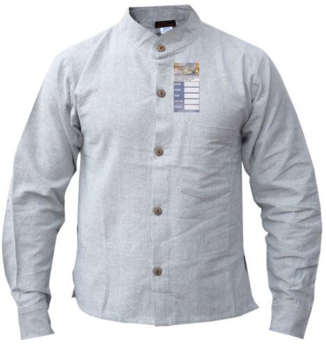 Plain Cotton Hemp Button Down Grandad Shirt Casual Summer Hippie Light Kurtas