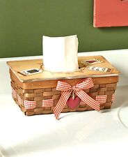 COUNTRY HEART TISSUE BOX COVER Kleenex Holder Primitive Rustic Basket Look Cabin