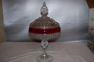 Vintage-NOS-ORIG-Box-DIAMOND-POINT-RUBY-FLASHED-INDIANA-GLASS-COVERED-COMPOTE