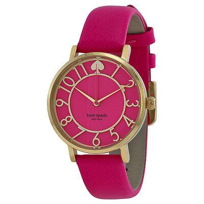 Kate Spade Metro Pink Enamel Cut-out Dial Pink Leather Ladies Watch 1YRU0402