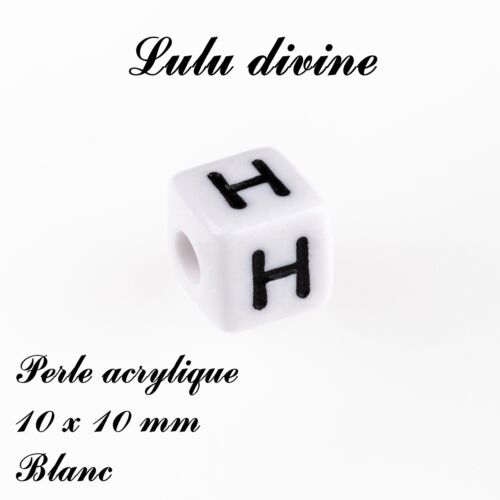 Lettre H Blanc Perle acrylique alphabétique de 10 x 10 mm Lot de 10 perles