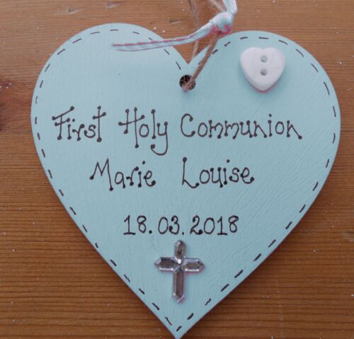 Personalised  1st First  Holy Communion gift heart keepsake plaque