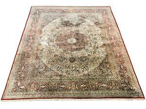 8X10-Pure-Silk-Tab-riz-Rug-Hand-Knotted-Oriental-Carpet-400-KPSI-8-1-x-9-10