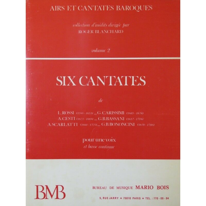 Six Cantates Baroques Chant Piano Basse continue 1976 partition sheet music scor