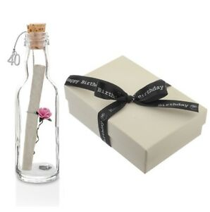 Personalised 40th Birthday Gift Message In A Bottle Keepsake With