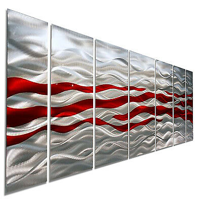 Modern Metal Abstract Wall Art Red Silver Painting Sculpture Home Decor Caliente