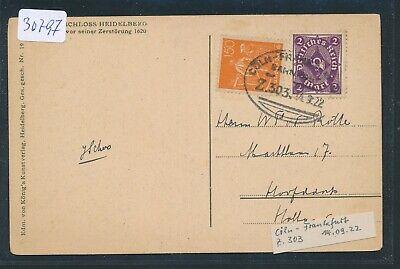 30797) Bahnpost Ovalstempel Cöln - Frankfurt Z.303, Karte 1922