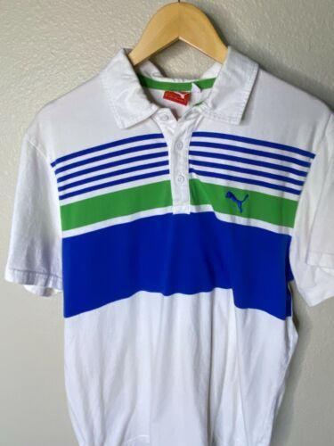 Vintage Puma Polo Men Size XL White Blue Green 19… - image 1