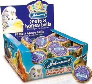 BUDGIE-FRUIT-amp-HONEY-BELLS-34g-x27-Johnsons-Parakeets-Bird-Fruity-bp-Food